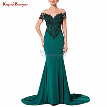 цена на 2019 Black Applique Teal Mermaid Evening Dress Sheer Tulle Scoop Neck Zipper Long Formal Dress Women Abiye gece Elbisesi