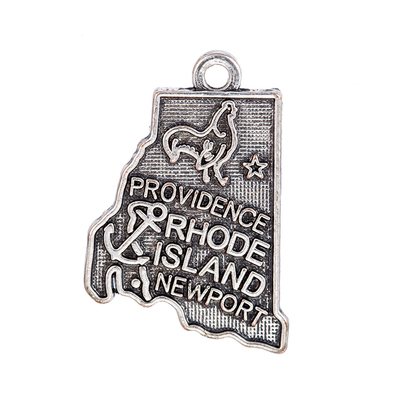 Double side 2 Style Silver Rhode Island State Map Dangle Charms Jewelry DIY Fit Bracelet Necklace 50PCS/Lots