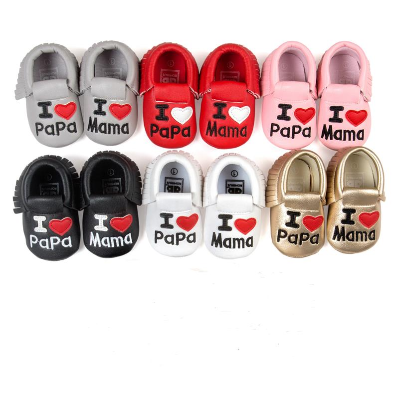 2016 Baby pige dreng sko Kærlighed Papa Mama mode toddler Fring moccasins chaussure bebes fille garcon zapatos menina menino