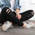 Mujer Jeans Rasgados Pantalones de Mezclilla Agujeros en las rodillas atractivas Flacas Mujeres Inferiores Pantalones Delgados leggins Verano de Algodón Elástico de Alta