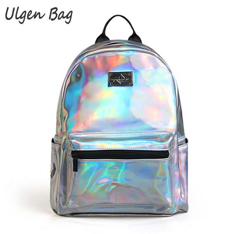Fashion Women s Hologram Backpacks for teenagers girls Laser Silver Color Holographic Mirror Mini Shoulder Bags
