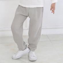 Kids Trousers Long-Pants Spring Linen Harem Baby-Boys-Girls Cotton Summer Breathable
