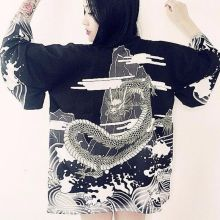 Vintage Japanese Harajuku Style Blouse Waves and Wind Dragon Shirts kimono Print Chiffon Cardigan