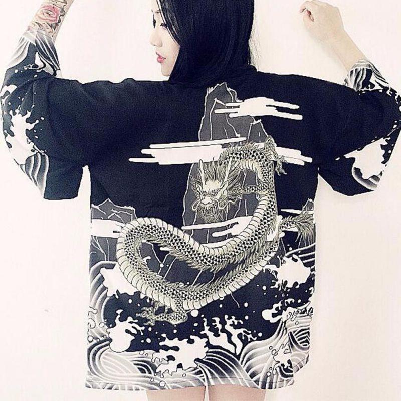 Vintage estilo japonés Harajuku blusa ondas y Dragón de viento japonés kimono Rebeca de la gasa de la impresión