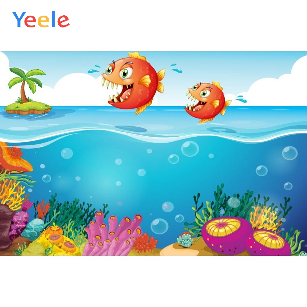 Yeele Vinyl  Cartoon Ocean Mermaid Shark Baby Birthday Party Photography Backdrop Children Photographic Background Photo Studio