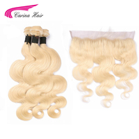 Carina Blonde Color Hair Wefts 3 Bundle with 13*4 Ear to Ear Lace Frontal Closure Peruvian Remy Human Hair Blonde 613 Hair