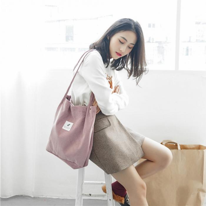 High Capacity Women Corduroy Tote Ladies Casual Shoulder Bag Foldable Reusable Shopping Beach Bag WML99 12