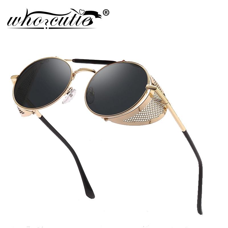 f3a831948c WHO CUTIE 2018 Round Steampunk Goggles Sunglasses Men Brand Designer Vintage  Retro Circle Metal Iron Man Punk Sun Glasses OM143