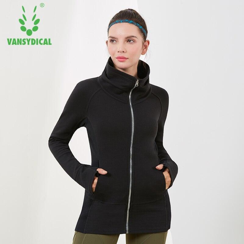 205ba05d0c 2019 Winter Sports Running Jacket Women's Warm High-collar Zipper Windproof  Sportswear Tops Outdoor Workout