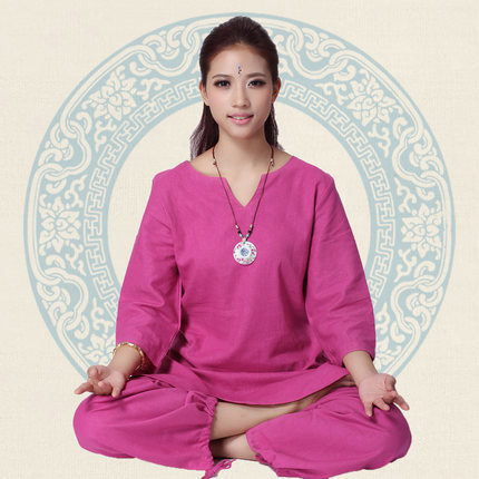 2018 New Lady Loose Cotton Women Yoga Clothes Autumn Yoga Dance Clothing Suit Female Meditation White Purple Rose M-XXL lady xxl