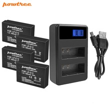 цена Powtree For Canon 4PCS 1800mAh 7.2V LP-E12 LP E12 LPE12 Camera Battery AKKU+LCD USB Dual Charger For EOS Rebel SL1 Kiss X7 M10 онлайн в 2017 году
