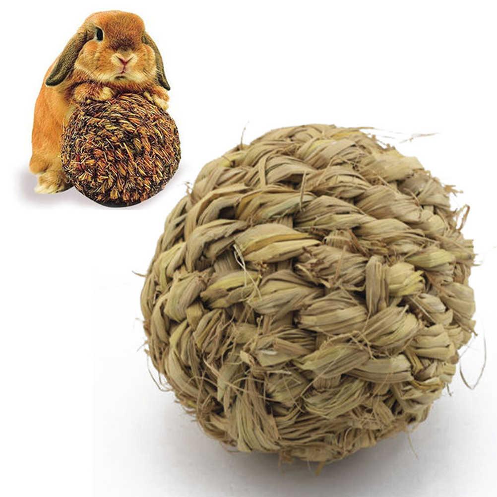 10cm Pet Kauen Spielzeug Natürliche Gras Ball mit Glocke für Kaninchen Hamster Guinea Schwein für Zahn Reinigung