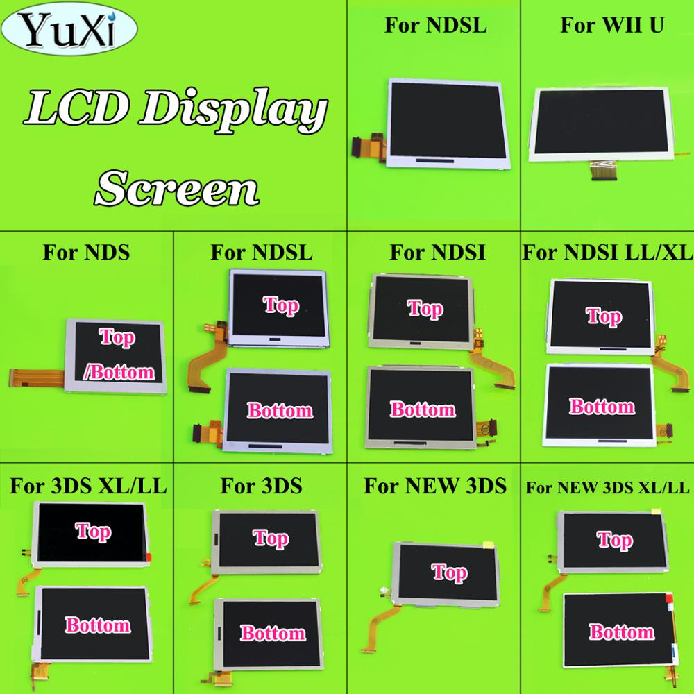 YuXi Top Bottom Upper Lower LCD Screen Display For Nintend DS Lite For NDS I L For New 3DS XL LL Game Console LCD Screens