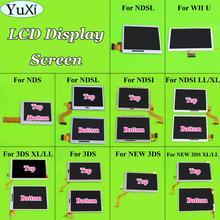 Yuxi tela lcd inferior superior inferior, para nintendo ds lite para nds i l e para 3ds xl console de tela lcd ll game