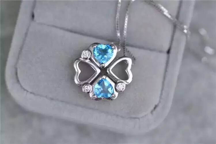 natural blue topaz pendant S925 silver Natural gemstone Pendant Necklace trendy Romantic heart clover women girl party jewelrynatural blue topaz pendant S925 silver Natural gemstone Pendant Necklace trendy Romantic heart clover women girl party jewelry