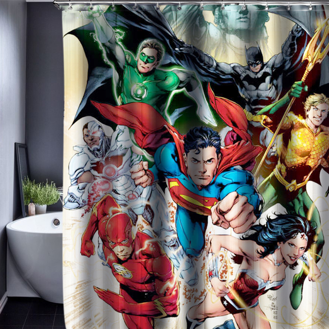 The Avengers Shower Curtain Pattern Customized Waterproof Bathroom Fabric 165x180cm For