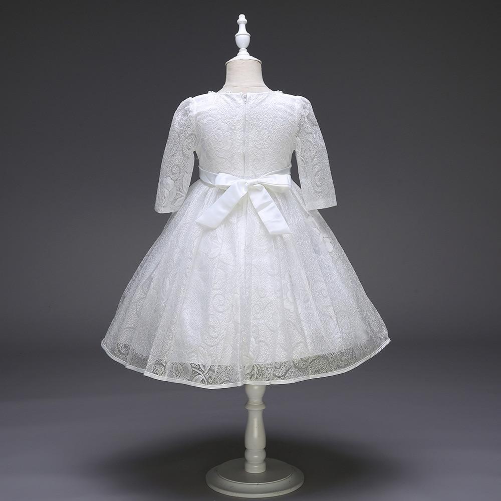 Fleur fille Boutique dentelle robe de mariée bébé fille élégante demi manches dentelle princesse Costume pour soirée bal de promo - 4
