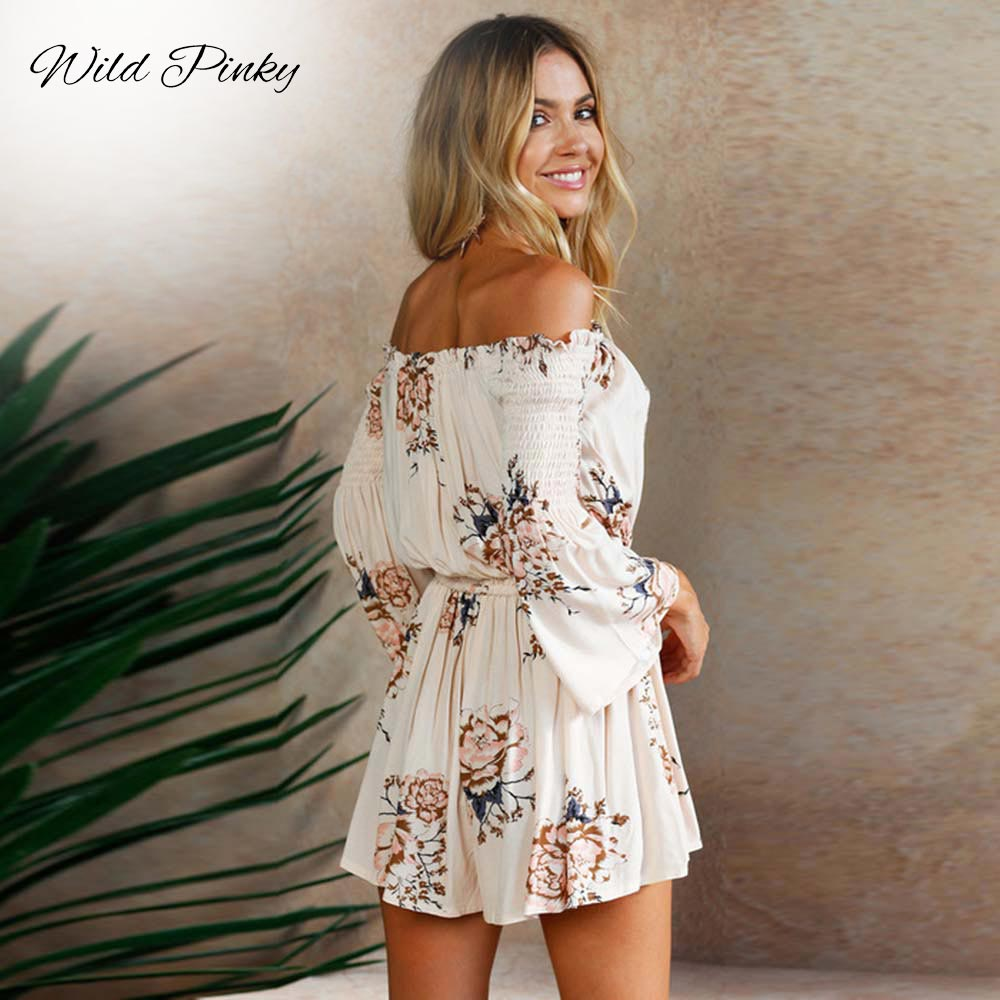 WildPinky Floral Print Summer Playsuit Women Long Sleeve Off Shoulder Short Romper Jumpsuit Boho Beach Sexy Lace Up Playsuit in Rompers from Women 39 s Clothing