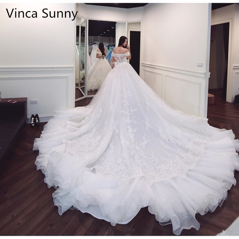 Luxury Ball Gown Bridal Dress Vintage Applique Lace Wedding Dress 2018 Princess with Sleeve Vestido De Noiva