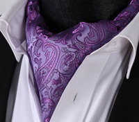 RF310PS Purple Paisley  Ascot Tie Pocket Square Woven Men Party wedding Tie Necktie Handkerchief Set 1