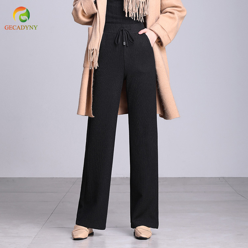 Autumn Winter Fashion New Plus Size Women Brief Design Wool Blends Soft Touching Elegant Knitting   Wide     Leg     Pants   Female Trousers