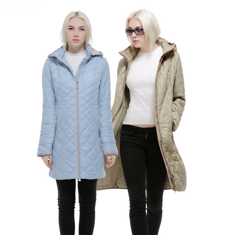 autumn and winter women coat medium-long with a hood female outerwear plus 48-58 For Europe and Russia blue,Khaki and beige coat