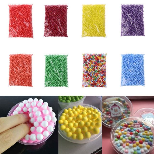 5 bags Slime Balls Mud Particles Accessories 7-9mm Foam Beads Slime Fluffy Clay Mud