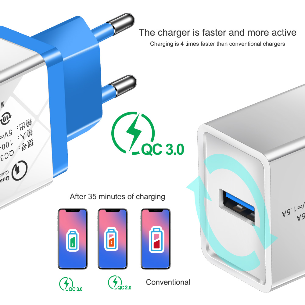 Image 3 - QC 3.0 USB Charger Quick charge 3.0 for Samsung Xiaomi Huawei Mobile Phone Charger Adapter For iphone 5 5s 6 7 8 Plus X Xs Cable-in Mobile Phone Chargers from Cellphones & Telecommunications