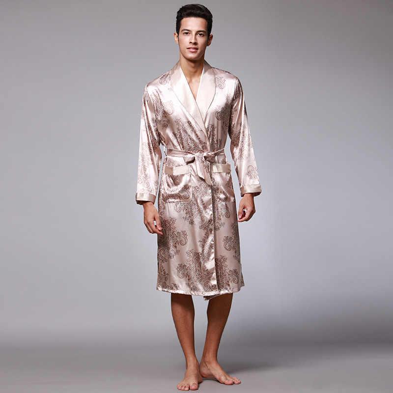 Новое поступление серый китайский Для мужчин район одеяние Ночная кимоно юката платье Лето Повседневное пижамы L XL XXL Z001