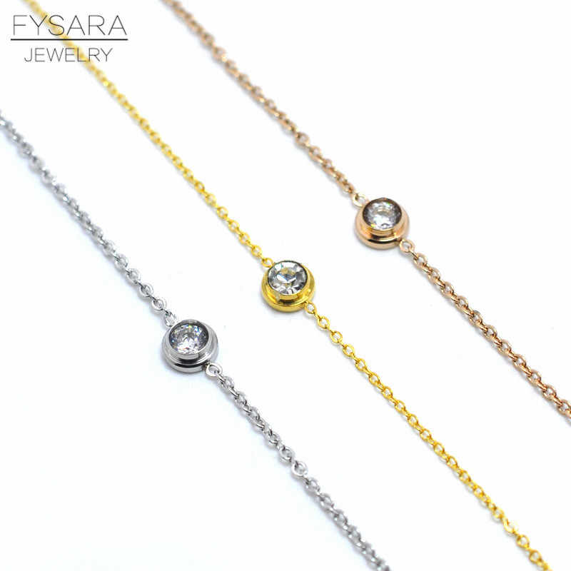 FYSARA Thin Chain Bracelets & Bangles Rose Gold Color Round Cubic Zirconia Crystal Bracelets For Women Wedding Jewelry Gift