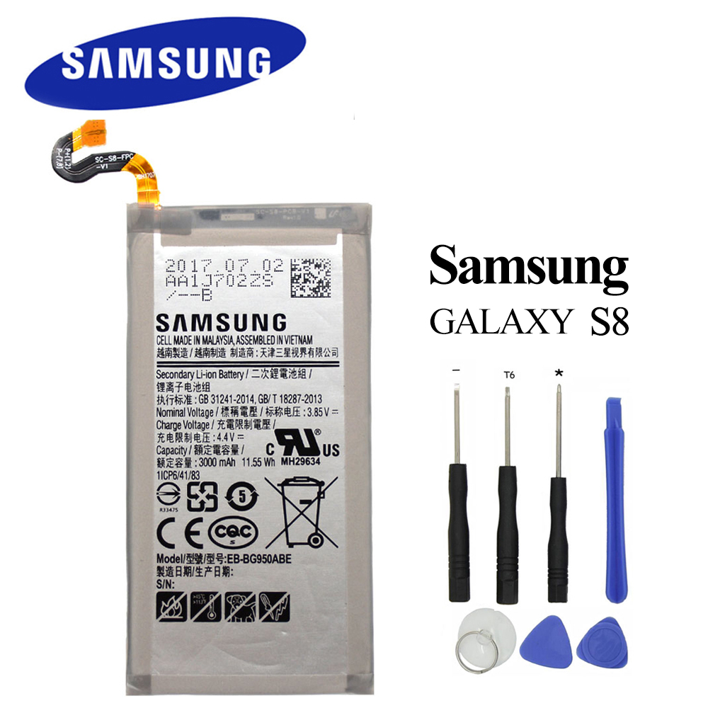 EB-BG950ABE Bateria Original para Samsung Galaxy S8 SM-G9508 G9508 G9500 G950U G950F 3000 mah Akku + Ferramentas