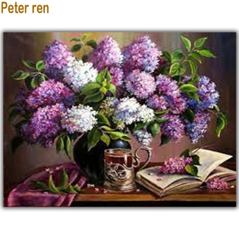Diy 5d diamantový obraz Lilac pohár kniha diamant výšivka květiny náměstí diamant mozaika flitry umění plné výšivky elmas mozaik