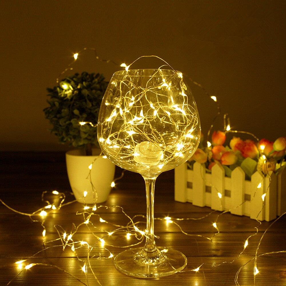 Nuevo 2 M 5 m 10 m alambre de plata de cobre cadena de luces LED luces de vacaciones impermeables para decoración de fiesta de boda de árbol de Navidad de hadas
