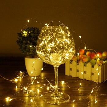 Nuevo 2 M 5 M 10 M cobre alambre de plata LED cadena luces impermeables vacaciones iluminación para el árbol de Navidad de hadas fiesta fiesta decoración de la boda
