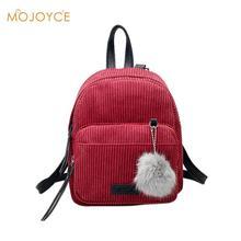 4759546487b2 Мини женские рюкзаки однотонная модная школьная сумка для  девочек-подростков с меховым шариком однотонный вельветовый рюкзак ярк.