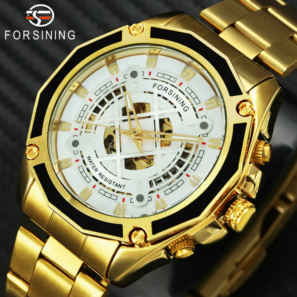 FORSINING Top Brand Luxury Watch Men Golden Skeleton Automatic Mechanical Watches Fashion Stainless Steel Waterproof Wristwatch forsining men s watch fashion watches men top quality automatic men watch factory shop free shipping fsg8051m3s6