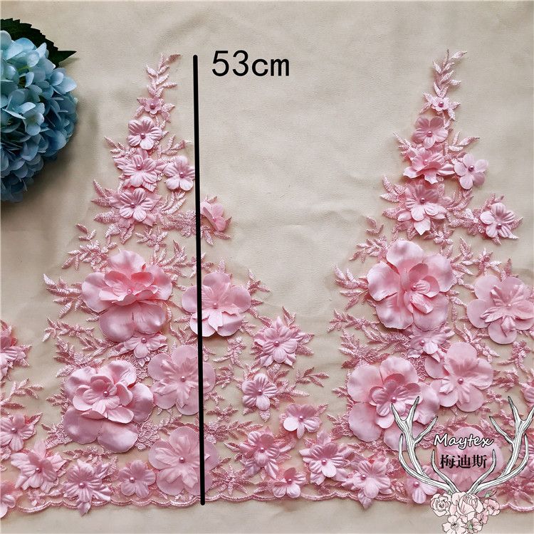 1 Yard Blue Pink Off white 3d flowers lace trim embroidered florals lace fabric sewing for women gowns 53CM width luxurious in Lace from Home Garden
