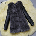2016 Abrigo de Piel de Las Mujeres Chaqueta de Invierno Gruesa Abrigos de Pieles de Abrigo Largo estilo Más Tamaño XXXL Abrigo de Piel Chaqueta de Cuero Ropa Exterior Femenina T0614