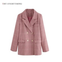 Pink Blazer Women Long Double Breasted Plaid Blazers Jacket Sleeve Ladies And Woman 2019
