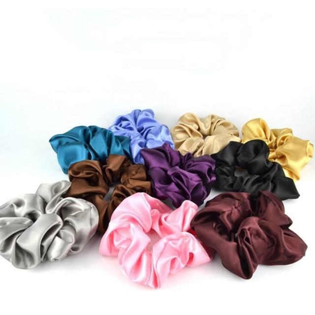 Fashion Women Simple Faux Silk Solid Color Plain Hair Bands Vintage Basic Hair Scrunchies Satin Professional Hair Gun Head Bun