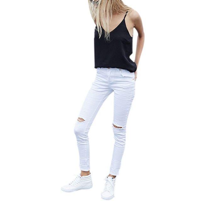 Legal denim calças de cintura alta capris Mulheres buraco Branco jeans rasgados jeggings Feminino skinny jeans casual Mais Novo