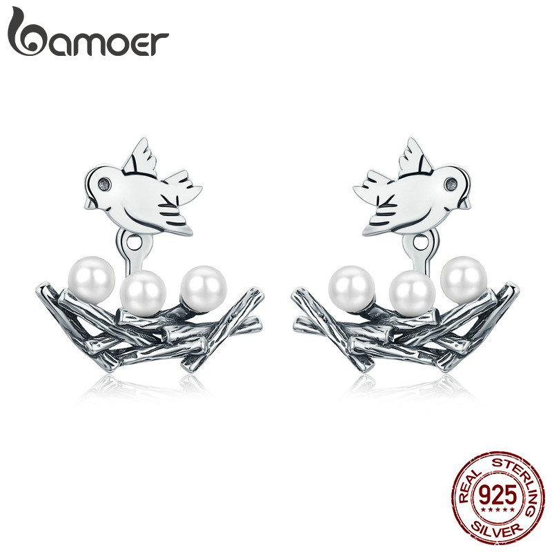 BAMOER 100% 925 Sterling Silver Spring Collection Bird Swallow with Nest Stud Earrings for Women Fine Jewelry S925 Gift SCE337
