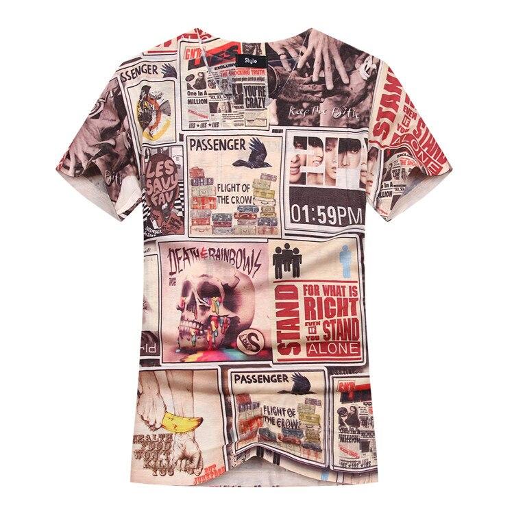 Newspaper Patchwork Print T shirt 2017 Printing Tee V Neck Men's T-Shirt Short Sleeve Shirt Summer Pullover Top Tee men clothing