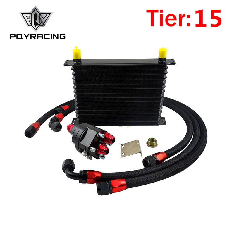 PQY - Universal 15 Row OIL COOLER 10AN Aluminum Engine Transmission Oil Cooler Relocation Kit pqy racing universal 30 row an10 engine transmiss oil cooler kit filter relocation blue page 4