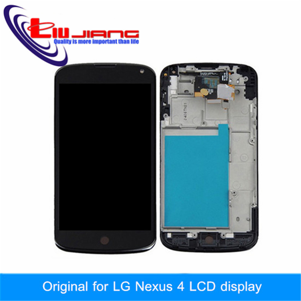 Liujiang Replacement LCD Display Touch Digitizer Screen With Frame Assembly For LG Nexus 4 E960 Free shipping with LOGO new lcd touch screen digitizer with frame assembly for lg google nexus 5 d820 d821 free shipping