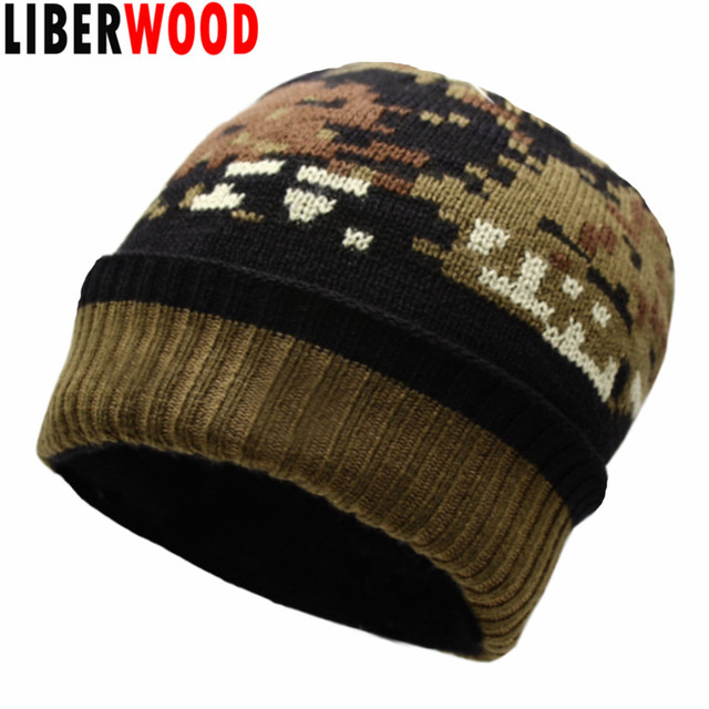 LIBERWOOD Men Special Force Winter Beanies Camouflage Tactical Operator hat  thick Camo jungle hunting knitting beanie riding hat 25988403f63