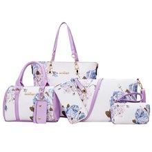 6 Pcs/set Tote Bag Embossing Pu Leather Women Print Messenger Shoulder Composite Bag Ladies Purse And Handbags Sac Femme 2018