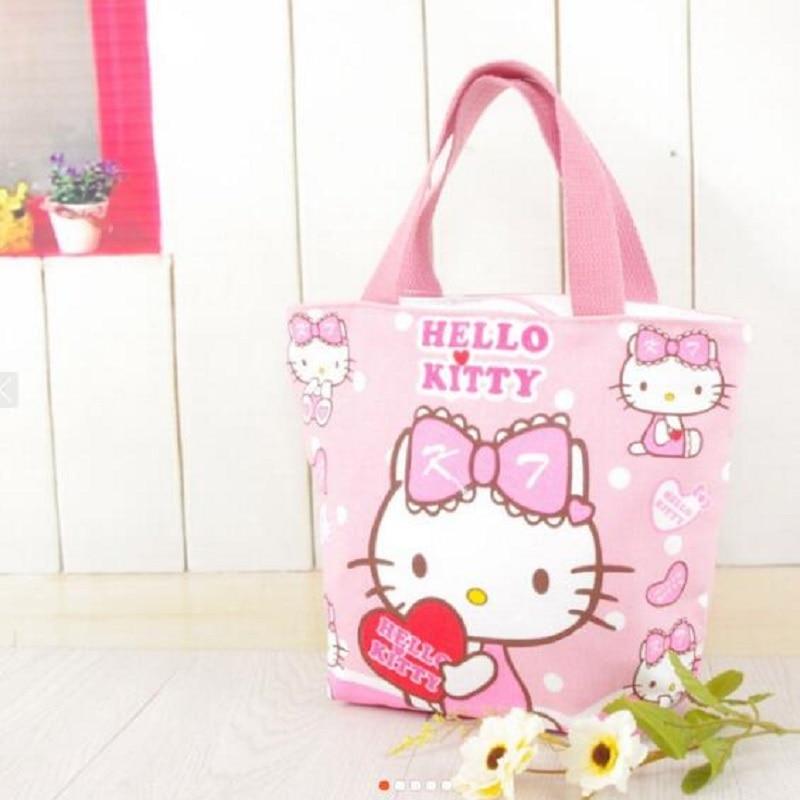 Kawaii Pink Hello Kitty Canvas Lunch Bag Sac A Main 22*25*9CM Mochila For Girls Gifts