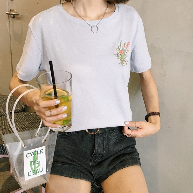 HTB1HP2JNpXXXXXsapXXq6xXFXXXl - Japanese Brief Flower Embroidery Women T shirt PTC 346