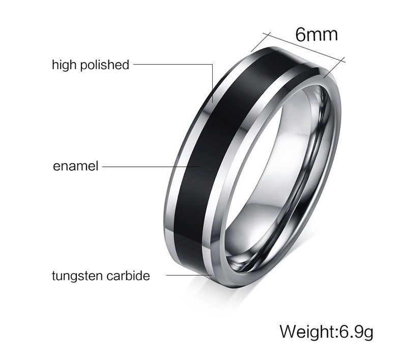Black and Silver Carbon Men's Ring